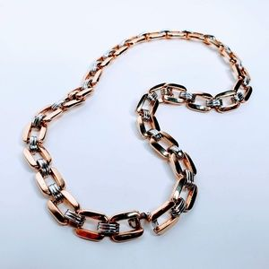 Gold and Silver Statement Link Chain Necklace